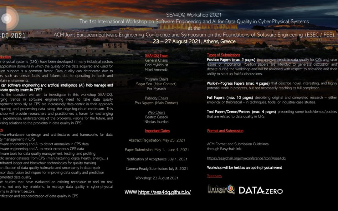 1st International Workshop on Software Engineering and AI for Data Quality in Cyber-Physical Systems